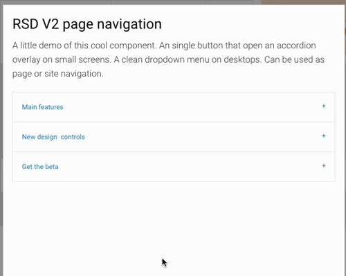go from a hamburger icon to a popup menu using this accordion component in rsd v2