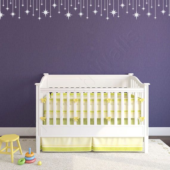 Spectacular Stars Decal Border Baby Girl Nursery Wall Decal by FleurishWalls