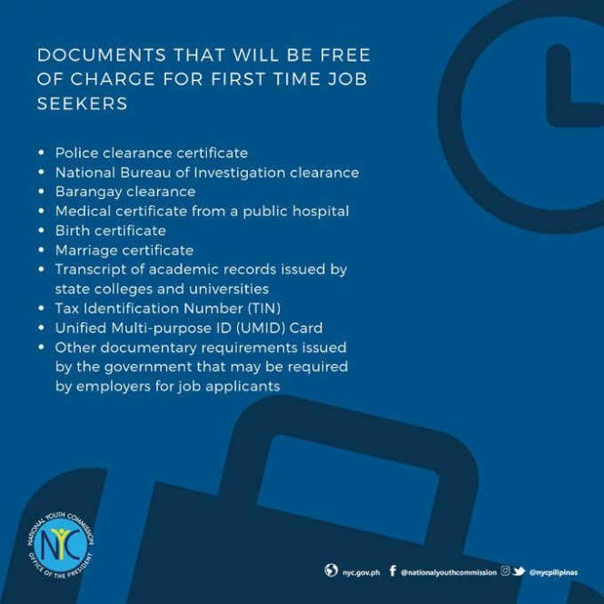 What Documents Are Free Of Charge Under The First Time Job Seekers