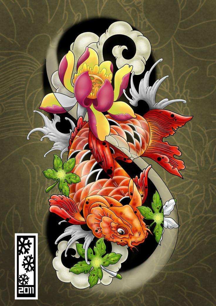 koi tattoo flash by tylerrthemesmer on deviantART