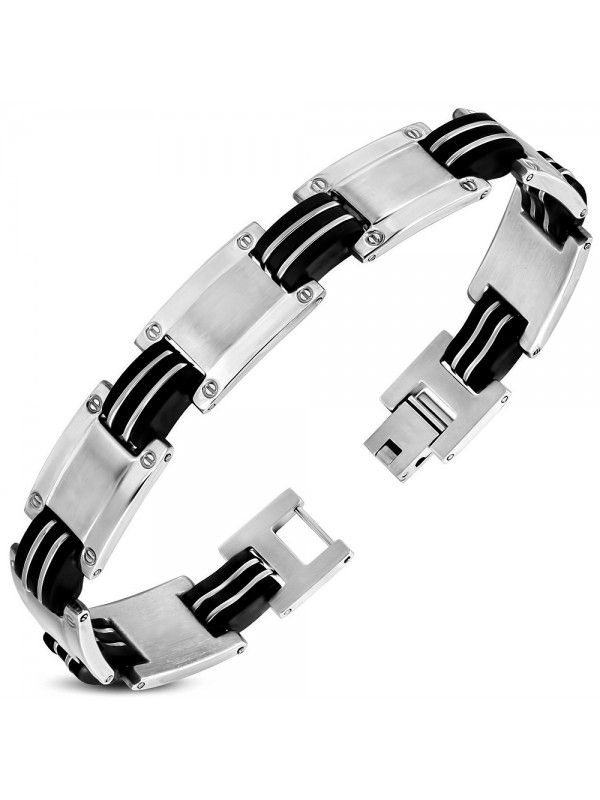 Stainless steel and black rubber bracelet for men.  Stainless steel jewelry items are delivered in shock-proof envelopes provided for free.