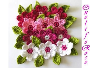 Pinky Crochet Flowers 12 pieces with 24 leaves