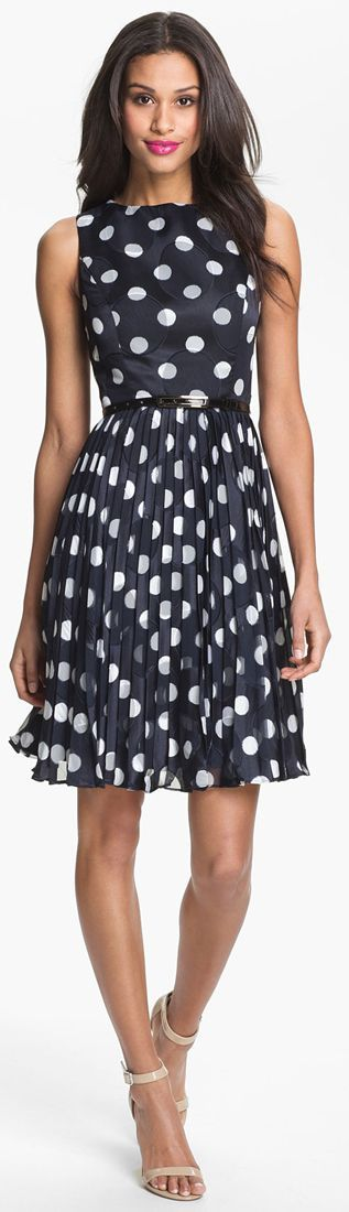 @roressclothes clothing ideas #women fashion Adrianna Papell Burnout Polka Dot Fit & Flare Dress