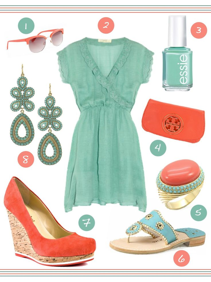 turquoise and peach= summer colors!: Colors Combos, Summer Style, Than, Coral Outfits, Tory Burch, Colors Combinations, Stella And Dots, Coral Wedges, Turquoise Dresses