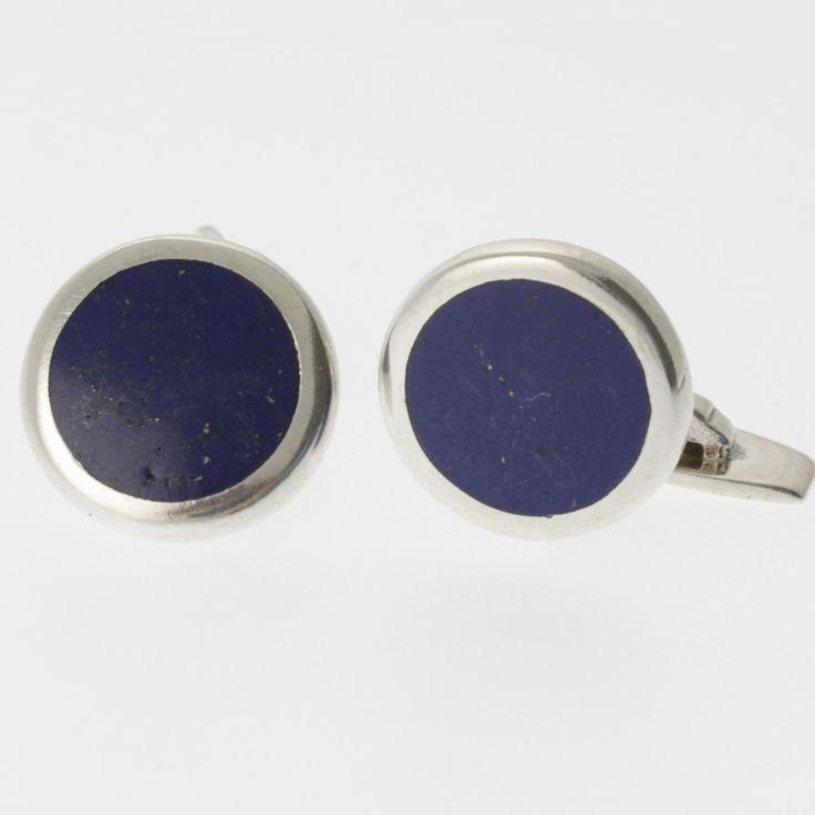 Lapis lazuli and sterling silver round cufflinks by Sky with Diamonds | Sky with Diamonds