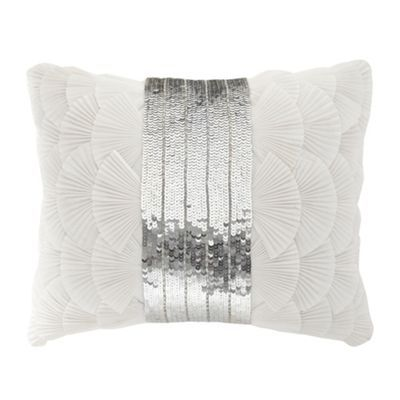 Star by Julien Macdonald Designer ivory pleated frill sequin cushion- at Debenhams.ie