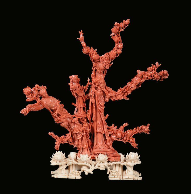 Gruppo in corallo rosso con Guanyin e fanciulli, Cina, Dinastia Qing, fine XIX secolo