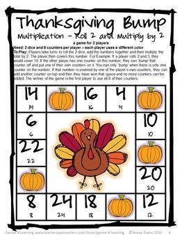 Thanksgiving Math Bump Games FREEBIE - just print and play!
