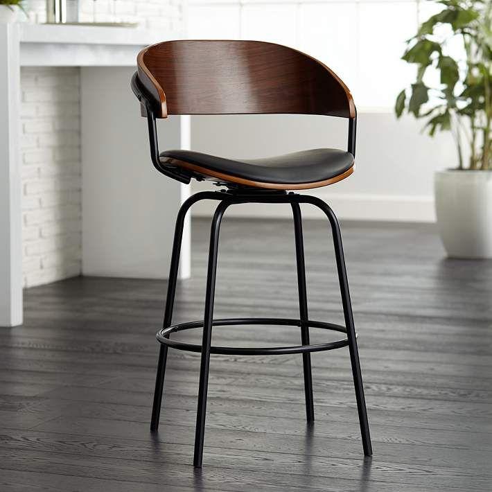 Larsen 26 High Black And Walnut Swivel Counter Stool 62x88 Lamps Plus Swivel Counter Stools Counter Stools Swivel Bar Stools 26 inch swivel bar stools