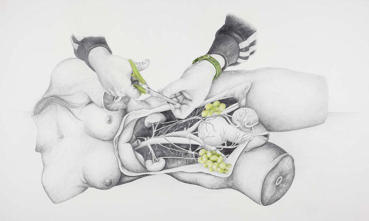Jeux-découpe, Salomé Pia, dessin au crayon de papier et crayon de couleur sur papier, 100x60 cm, 2014.