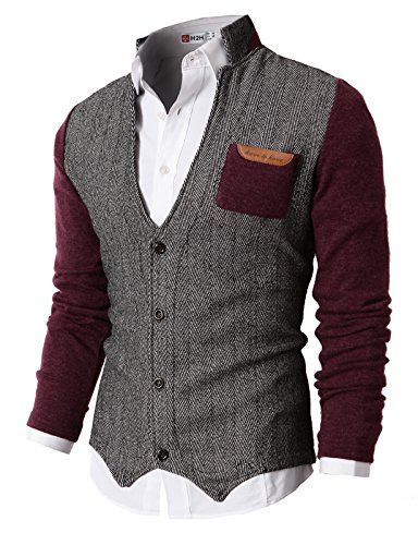 H2H Mens Casual Slim Fit Knitted Cardigan Herringbone Patterned With Pocket... Slim fit, chest pocket, herringbone patterned and solid color sleeve, button closure and long sleeve, lightweight, thermal cardigans. ... #Mens #Fashion #MensFashion #Clothes #Clothing