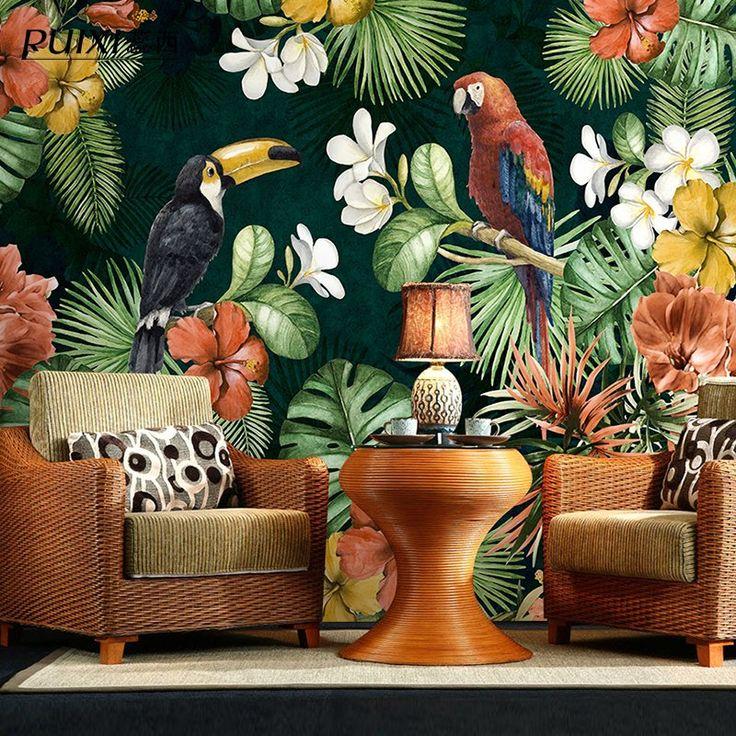 Palm tree banana leaf mural wallpaper 3d rainforest style
