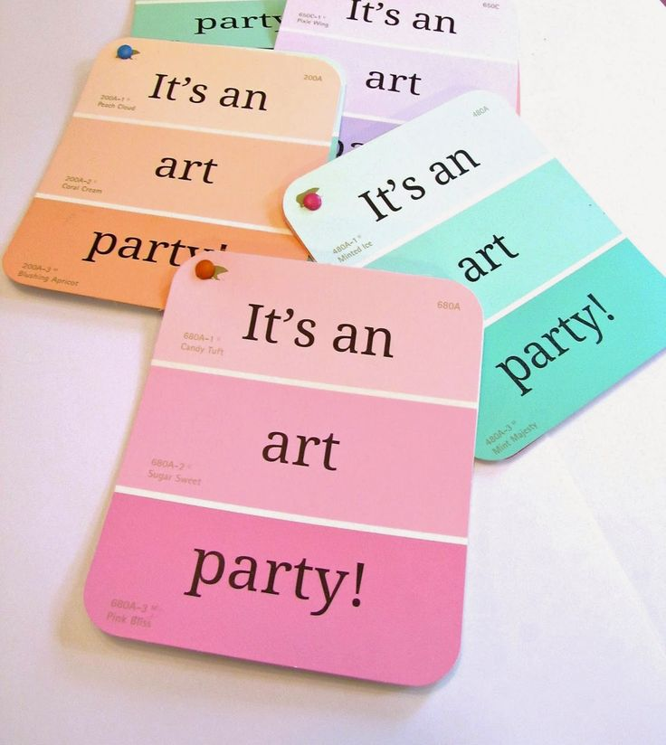 handmadest birthday party invitations%0A Art party invitations using paint chips  So cute