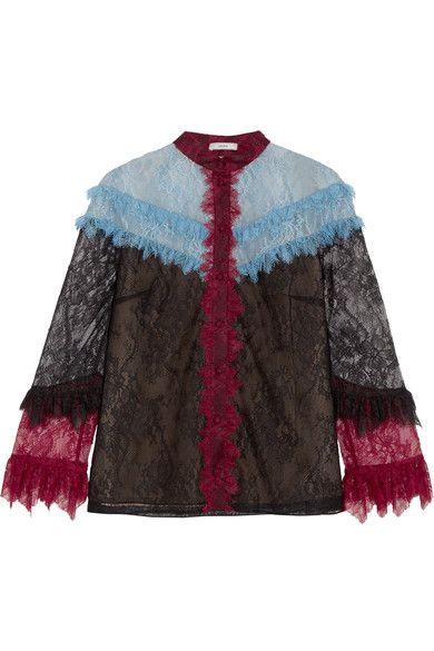 Erdem - Ruffle-trimmed Lace Blouse - Black