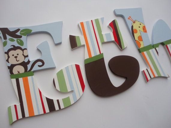 Painted Wooden Alphabet Letters