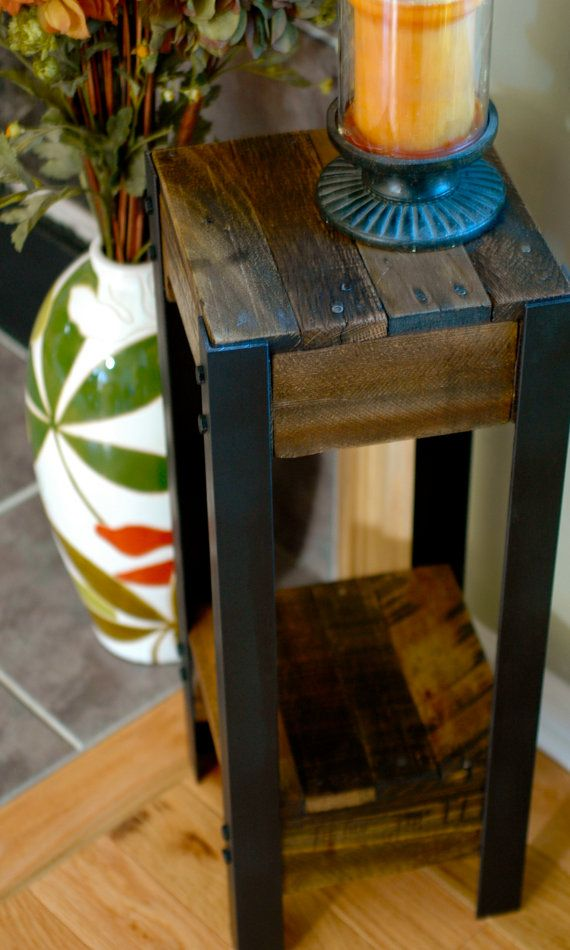 Modern Pallet Wood and Steel Side Table Pallet by TheWoodGarageLLC