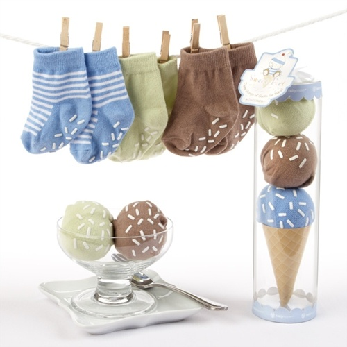 """""""Sweet Feet"""" Three Scoops of Socks Gift Set (Blue) - Who could have known socks look cute in a cone? Baby Aspen designers did, and they didn't scrimp on the serving either--with three scoops of socks, this baby gift rocks! The new mom and dad will love the gift presentation as much as baby boy will love the real thing later!"""