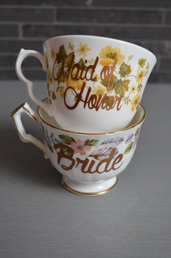 Vintage Teacups Bride and Maid of Honor by bostoninachinashop