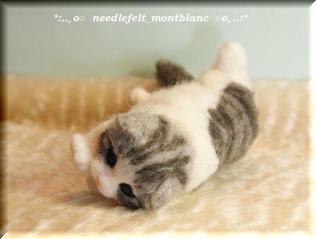 羊毛フェルト 猫 マンチカンの子猫 ねこ ネコ