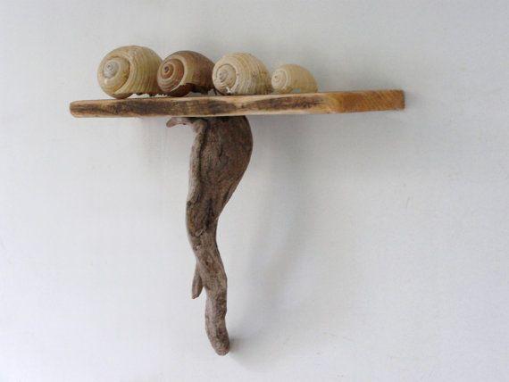 Driftwood natural shelf driftwood art wall art shelves for Driftwood wall shelves