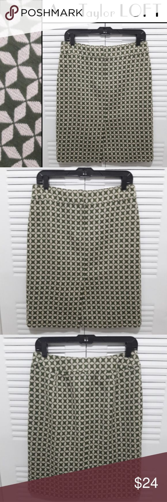 "LOFT Retro Geometric Jacquard Star Pencil Skirt 🌟Fabulous & Bold🌟Ann Taylor LOFT Geometric Star Designed Lined Pencil Skirt Size 8 * Excellent Condition * - Jacquard Cotton/Wool Blend - Army Green & Egg Shell Colors - Knee Length  - Sexy 8"" Front Bottom Slit - Measurements laying flat across Waist 15"" Hips 19"" Length 21.5"" ❤Bundle your likes from My Closet & SAVE❤ Ann Taylor Skirts Pencil"