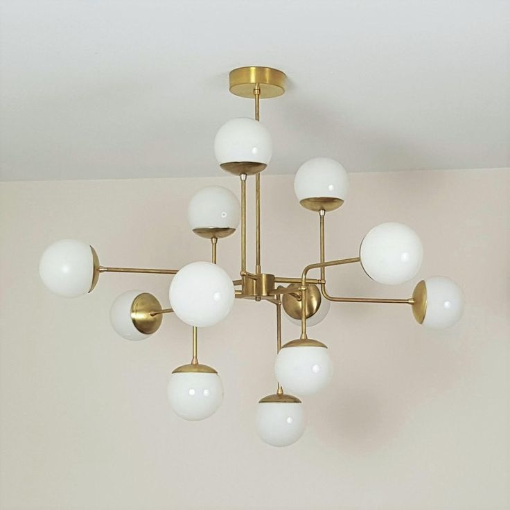 Classic Italian Modern Brass Chandelier With Glass Globes, Model 420 - Image 3 of 6