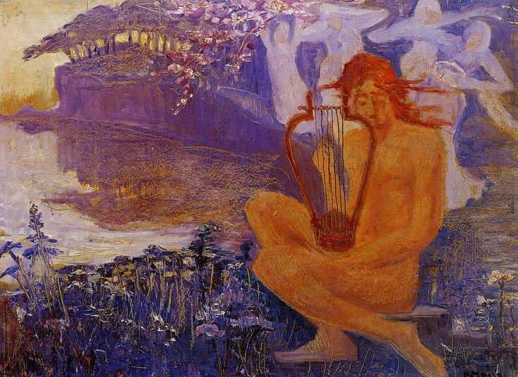 "amare-habeo:  ""  Constantinos Maleas (Greek, 1879-1928)  Orpheus & Pegasus, N/D  Oil on canvas  """