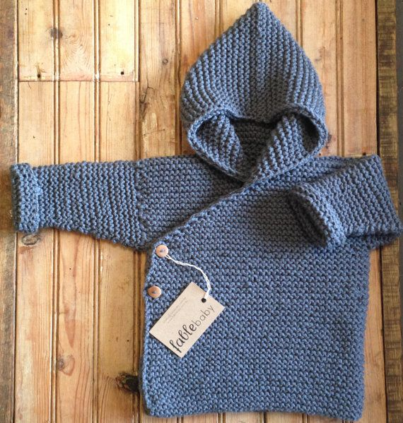 Hand Knitted Organic Cotton Chunky Hoodie - Size Medium - Made to Order