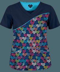 UA Entwined Love Navy 4 Pocket Print Scrub Top