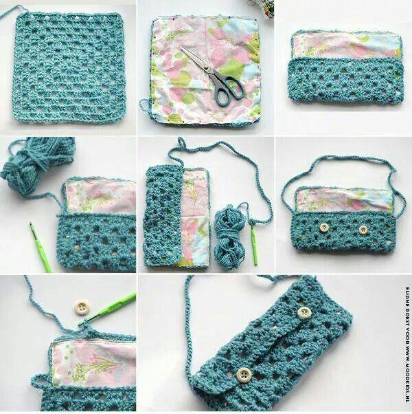 Bolsa croche + tecido