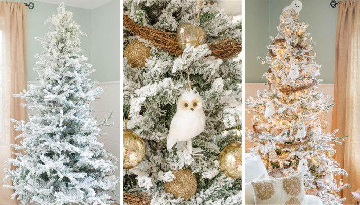 25 trending flocked christmas trees ideas on pinterest. Black Bedroom Furniture Sets. Home Design Ideas