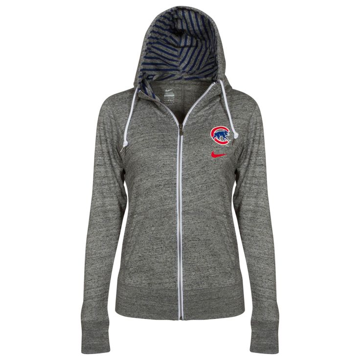 Chicago Cubs Women's Dark Heather Grey Crawl Bear Full-Zip Hoodie by Nike #Chicago #Cubs #ChicagoCubs