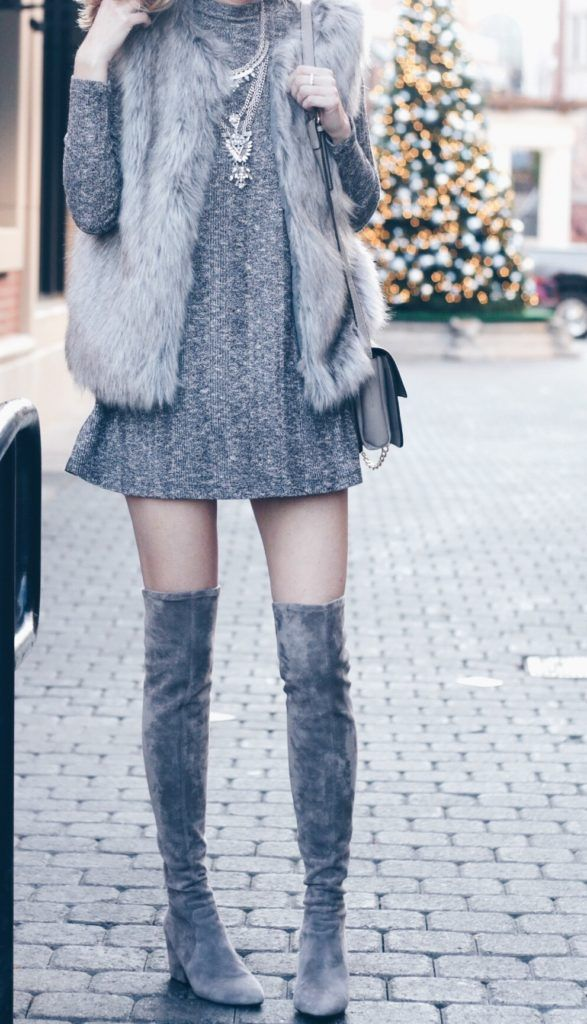 holiday party outfit - fur vest over dress and over the knee boots