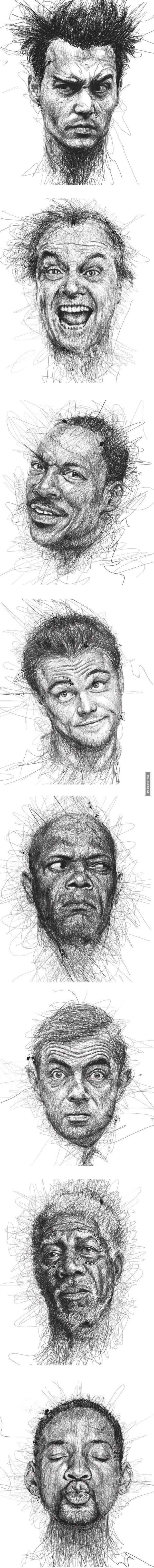 8 Dibujos de rostros asombrosos por Vince baja. @ http://elmemeno.com/