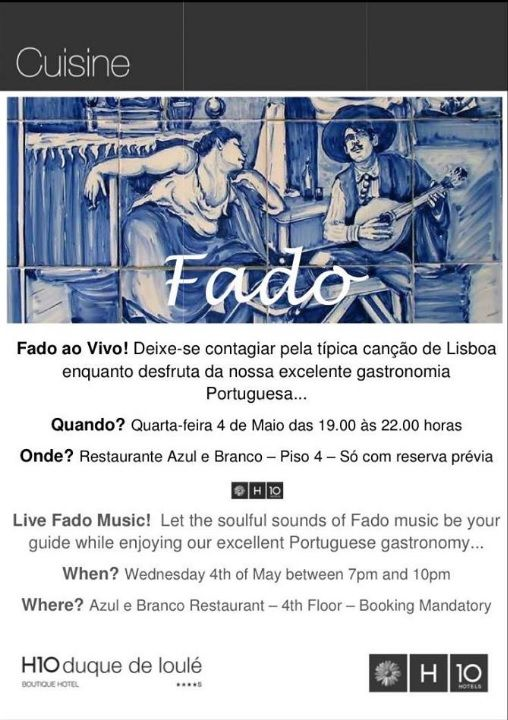 Do not miss Live Fado Music today while enjoying our excellent Portuguese gastronomy at our Azul e Branco Restaurant... Make your booking now: https://www.facebook.com/azulebrancolisboa/