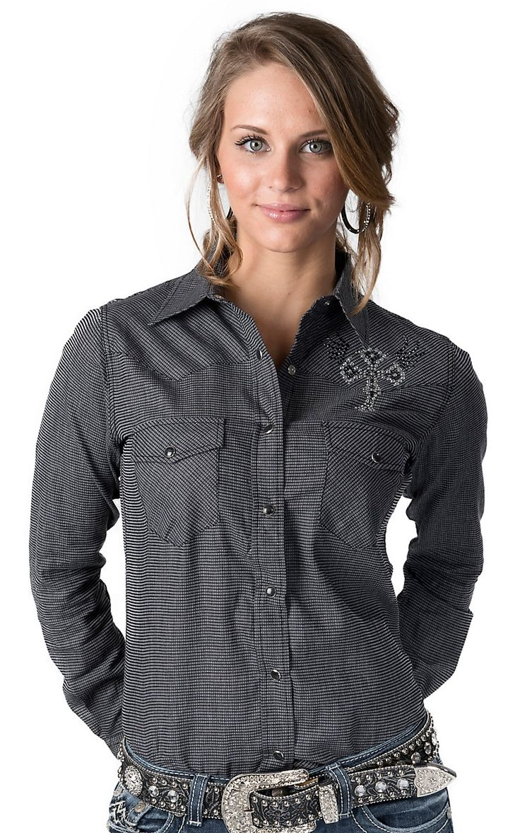 Cowgirl Hardware® Women's Black Burlap with Rhinestone Wing Cross Long Sleeve Western Shirt