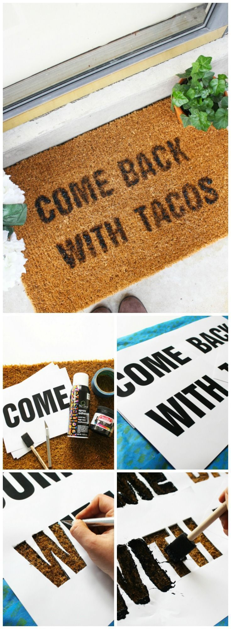 Funny doormat quote DIY tutorial. Easy welcome mat DIY ideas to decorate your front porch or patio. More on good ideas and DIY