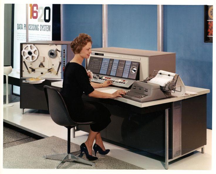 Woman Operating an IBM 1620 Data Processing