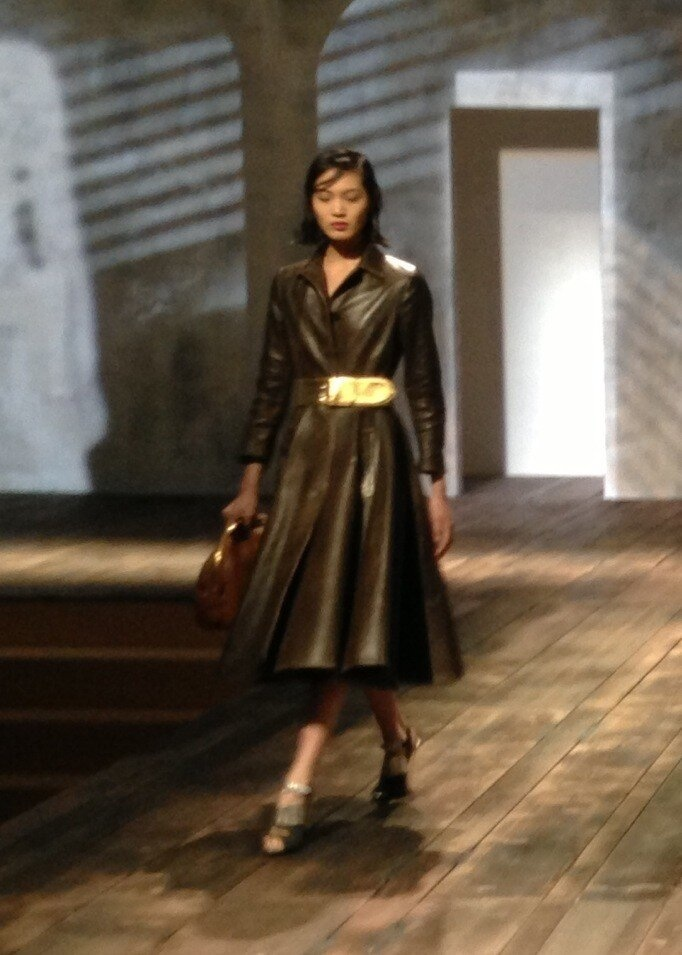 Chocolate leather coat dress with gold waist belt from Prada ...