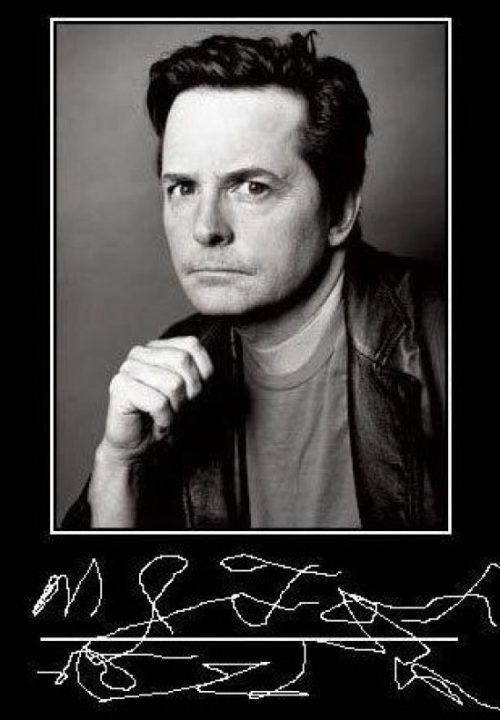 Michael J. Fox signature. SO awful, yet, i did have to ...