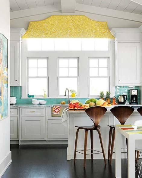 White kitchen, aqua tiled splash back and a pop of yellow with those amazing stools...DREAMY!  <3
