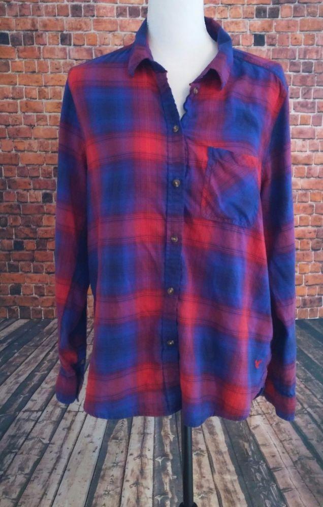 American Eagle Womens LARGE Vintage Boyfriend Flannel Plaid Button Down shirt  #AmericanEagleOutfitters #ButtonFront