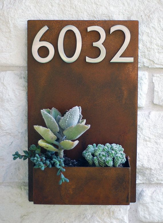 Succulent hanging planter and metal address plaque. Love this!!!