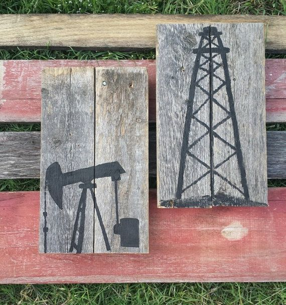 Rustic Style Pair of Signs Oil Rig Pump Jack and Derrick Sign using recycled / salvaged wood on Etsy, $35.00