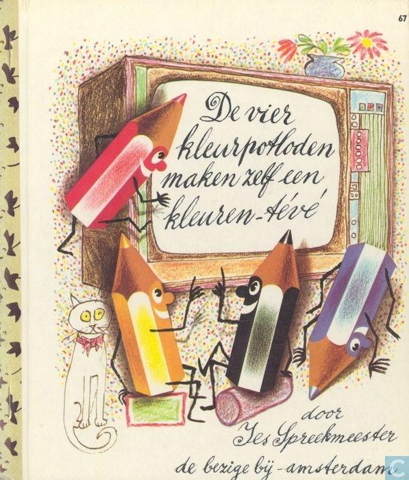 Boek - Vier kleurpotloden, De - De vier kleurpotloden maken zelf een kleuren-tévé
