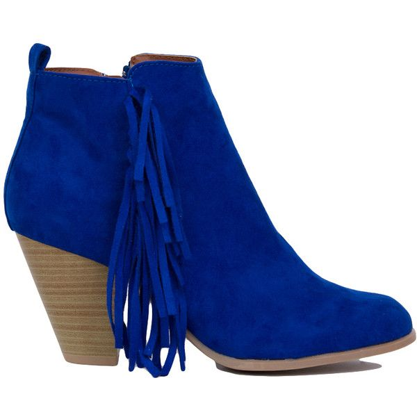 Fringe Heeled Ankle Booties - Cobalt Blue ($40) ❤ liked on Polyvore featuring shoes, boots, ankle booties, ankle boots, cobalt blue, high heel bootie, chunky heel bootie, fringe bootie and high heel ankle boots