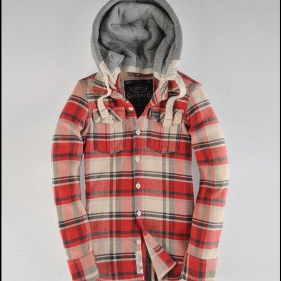 SUPERDRY Lumberjack Jacket Superdry classic Lumberjack hood with heavy weight twill fabric with detachable soft quilted jersey hood, twin chest pockets and woven heritage chest pocket logo patch. I've worn this probably twice! It's in perfect condition!!! SO cute on! Sold Out online! Color is smokey red. Superdry Tops Button Down Shirts