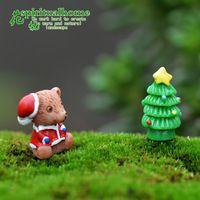 12 unids/set kawaii zakka navidad oso de dibujos animados muñeca linda navidad diy olla artesanías de resina figura de hadas gnomo de jardín musgo terrario