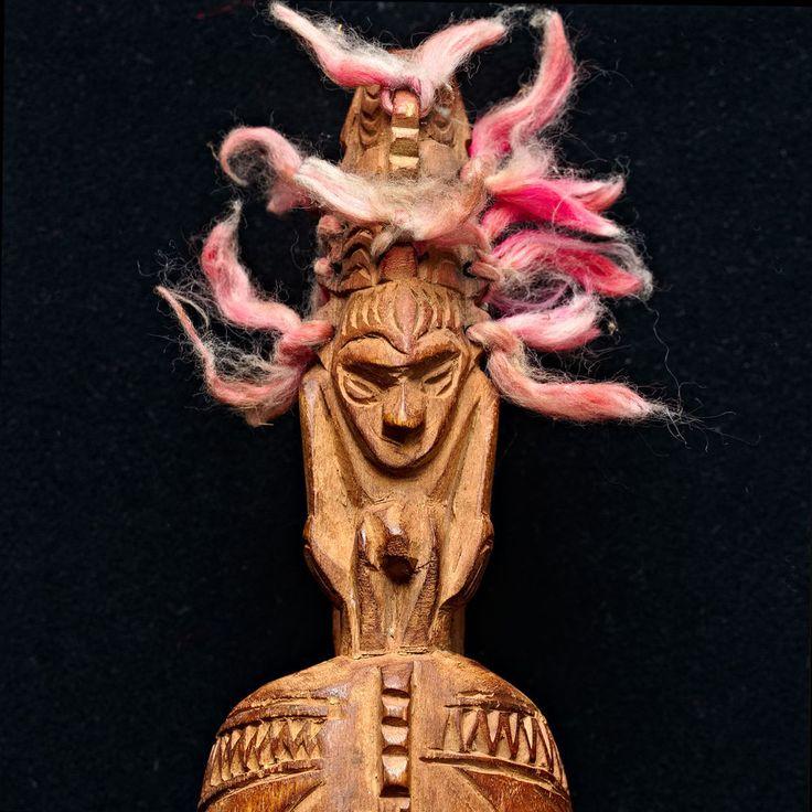 PNG Garamut Slit Gong Drum with Ancestor Figure Finials - Sepik Papua New Guinea
