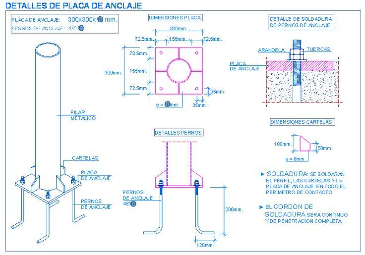 Placa de anclaje para pilar metálico redondo | detallesconstructivos.net